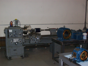 Shaft modifications on vertically mounted cooling tower motors (40HP).