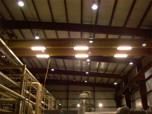 Generally the crane is positioned over where the work is performed, with the building lighting above the crane it is always eclipsed by the crane. Safety and the ability to perform work efficiently are greatly increased with adequate lighting.